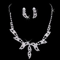stainless steel necklace clasp - Bling Cheap In Stock Elegant Wedding Bridal Prom Rhinestone Crystal Jewelry Necklace Earring Set Silver Plated Lobster clasp