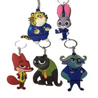 Wholesale 7CM Zootopia Judy Nick sloth Flash figure keychain toy set New Cartoon Animal Rabbit Judy Nick Fox lepard buffalo pendant