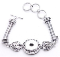 Wholesale 12pcs Fashion Vintage Antique Silver Noosa Chunks Metal Ginger mm Snap Button Heart Bracelet For Women Jewelry