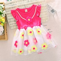 baby print material - 2016 New baby girls dresses cotton material O neck short sleeve pink rose color children infant dress A146