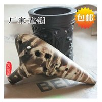 Wholesale Hole AC Ocarina Smoked burn professional pottery flute retail amp