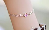 Corazón del oro de la pulsera 925 España-La pulsera de la plata esterlina 925 plateó el ajuste AAA CZ de la pulsera del corazón de los amantes del ángel del encanto del oro blanco que enviaba libremente