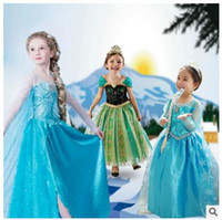 ball full colour printed - children Princess girl dresses Frozen Elsa Princess Dress Elsa Anna Dresses Costume Snow White Princess Cosplay Kids Party Gowns DHL free