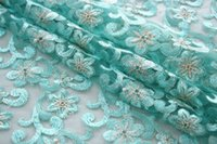 aqua colored flowers - 2016 aqua lace fabric flower new african french lace fabric high quality discount embroidered tulle lace with stones and beads
