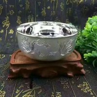 Wholesale sterling silver bowl Hand Carved Silver in smooth blasting pure silver dinnerware healthy baby children jewelry About grams