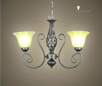 Wholesale AC100 V cm Frost glass lampshade sconces Vintage Wrought Iron Chandelier Black modern Pendant lamps indoor lighting