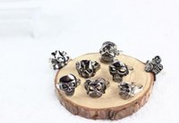 Wholesale 100 Pieces verSize Gothic Skull Carved Biker Mixed Styles Men s Anti Silver Rings Retro New Jewelry