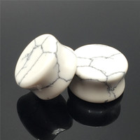 Wholesale Flesh tunnel and plugs ear expander saddle gauge natural stone stretcher fashion body jewelry piercing MM