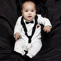 Wholesale Newborn Baby Rompers Little Boy Cotton Jumpsuit Infant Suit Style Outwear Children Long Sleeve D Printed Jumpsuits with Gentleman Bow
