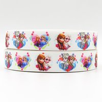 Wholesale 7 inch mm frozen sister with flower design printed grosgrain ribbon webbing yards roll for headband