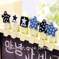 Wholesale 12pcs Cute polka dot stars mini wooden clips small paper photo clip with hemp rope gift wedding decoration pegs