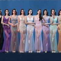 bar images - Hot Sale Sexy Deep V Neck Appliques Long Prom Dress Mermaid Tulles See Through Floor Length Bar Club Party Gowns Night Dresses Vestidos