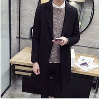 Wholesale Fall New Tide Man Fashion Long Trench Coat Grey Turn Down Collar Winter Brand Clothing Men Casual Woolen Jacket Casaco Masculino