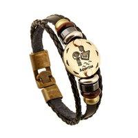 aquarius man - New arrival fashion men and women jewelry Aquarius constellation retro leather bracelet birthday gift