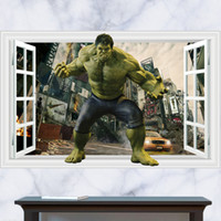 Wholesale 3D Windows Generic The Incredible Hulk The Avengers Wall Decal Decor Sticker kindergarten living room vinyl Inspiration art