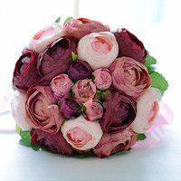 Wholesale Handmade Pieces Burgundy Peony Flowers Bridal Bouquet Fabric Artificial Fake Wedding Party Throw Flower Bridesmaid Bouquet New Design