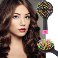 Wholesale 3 Colors Rainbow Comb Volume Brush Magic Hairbrush for Hair Tangle Hair Brush Women Comb Candy With Mirror