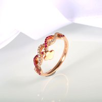 Wholesale Women s Wedding Rings Brand New K Rose Gold Prong Setting Ruby and Diamond Jewelry Women s Finger Ring Robira
