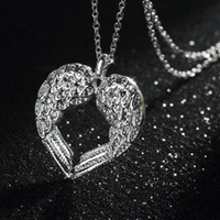angels heart gift - New Fashion Women Girls Silver Angel Wing Heart Pendant collares jewelry necklaces pendants Gift
