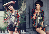 Wholesale Womens Bomber Embroidered Jacket Camperas Chaquetas Mujer Flower Print Seven Sleeve Zipper Short Thin Women Jackets and Coats BY DHL