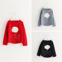 Wholesale 2016 Autumn Winter Kids Girls Pullover Sweater Long Sleee knitted Crew Neck Sweater Raindrops Clouds Printed Size