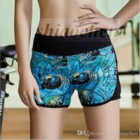 Wholesale Lady Gym Yoga Pants Print Running Shorts Elastic Galaxy Tights Sports Workout Shorts High Waist Skinny Pants Starry Leisure Shorts A1041