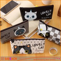Wholesale 4 Styles Lovely Cat Pencil Case Pen Bag for Kits Student Gift Makeup Cosmetic Bags School Stationery Supplies