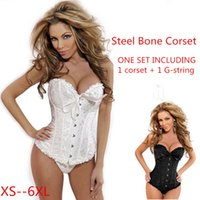 Wholesale 2016 Hot Selling Overbust Corsets Steel Boned Floral Print Bustiers Women Sexy Lingerie Two Pieces Plus Size XS XL