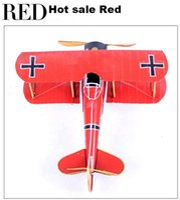 Wholesale Zakka grocery handicraft iron red yellow blue gift biplane model of world war ii