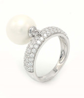 beautiful diamond ring designs - 2016 New Design freshwater Pearl Charm Micro CZ Diamond Beautiful Ring White Gold Plated sterling silver Jewelry For Women NR73230A