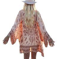Wholesale Fashion Women Summer Chiffon Blouse Beach Boho Kimono Cardigan Floral Printed Long Sleeve Casual Loose Long Beach Cover up