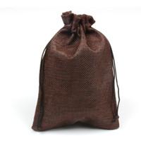 Wholesale 50pcs x18cm Hessian Linen Burlap Drawstring Jute Bag Candy Gift Christmas Wedding Favors Packaging Pouches Home Storage Bags