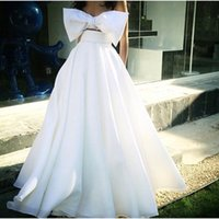big light balls - African Formal Prom Dresses Evening Wear Floor Length Ball Gown Two Pieces White Big Bow Bridal Party Prom Cocktail Gowns Arabic Custom Made