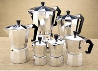 aluminum percolator coffee pot - Aluminum Moka Espresso Latte Percolator Stove Top Coffee Maker Pot cups cups set H302046
