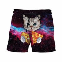 Wholesale Taco Cat Shorts Mens Hipster Space Galaxy D Short Pants Handsome Streetwear Board Shorts Male Cute Cat Eat Tacos Beach Shorts