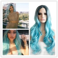 Wholesale New arrive Kylie Jenner Heat Resistant Hair Wig Cosplay Wig Fashion Synthetic None Lace Front Wig Black To Baby Blue Ombre Wig