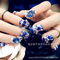 Wholesale Manicure finished pieces of fake nails diamond boxed bride manicure patch sapphire half resin finger tips childen s daily wear