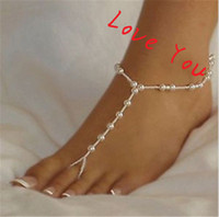 Wholesale Korean Pearl Anklet Bracelet Fashion Foot Jewelry Barefoot Sandals for Women Beach Jewelry Accessories