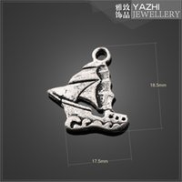 antique boat accessories - sailing boat charm pendant Antique silver Diy jewelry accessories SH1847 DIY jewelry Findings Components