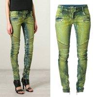 Wholesale NEW Balmain Women Skinny Distressed Denim Washed Biker Zip Jeans Blue Green New Size
