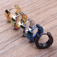 Wholesale Tide Men Black Men Earrings Ear Button Earrings Trade Smooth Plane women Men Jewelry