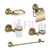 bath shower kits - Europe style brass golden bathroom shower kits tower rack Paper towel holder Soap Basket Liquid bottles bath sets