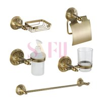 bathroom towel tower - Europe style brass golden bathroom shower kits tower rack Paper towel holder Soap Basket Liquid bottles bath sets