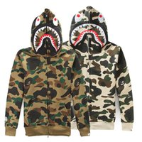 army camouflage sweatshirts - 2016 Men s Shark Hoodie Sweatshirts Autumn Winter Camouflage Camo Army Military Men Jacket Full Zip Hoodie Fleece Cardigan Sweatshirt Coats