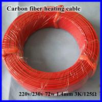 Al por mayor-Nueva infrarrojos teflón Suelo radiante Sistema de cable de 1,4 mm 3K / 125Ohm PTFE / silicona fibra de carbono Suelo Techo eléctrico Línea Wire