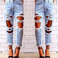 acrylic painting materials - 2016 new arrival hot sale fashion sexy autumn Jeans new autumn loose big yards wild sexy exaggeration ripped jeans BJS