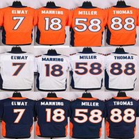 Wholesale Stitched Football Jersey Peyton Manning Von Miller Demaryius Thomas John Elway Blue White and Orange elite football Jerseys