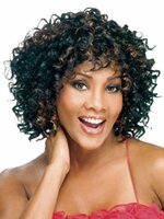 Wholesale African Brazil Women Short Curly Blonde and Black Mixed Color Natural Wigs High Tempreture Resistant Synthetic Hair Cosplay Wigs of black