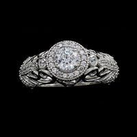 antique engagement ring art deco - 14K White Gold Vintage Antique Art Deco Ct Natural Diamond Engagement Ring