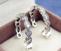 Wholesale 100 High quality Sterling Silver Alluring Brilliant Marquise with Clear CZ Hoop Earrings Fits European Pandora Jewelry Ring